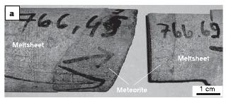 Drillcore from below the Morokweng crater showing the top and bottom contacts of meteoritic material. From Maier et al. (2006) Nature