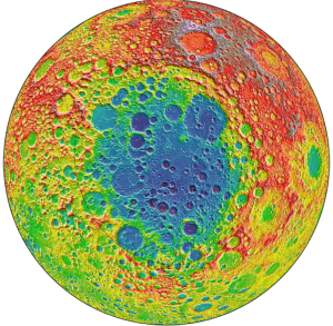 A Lunar Orbiter Laser Altimeter (LOLA) topography map of the Moon. The area of low topography (blues) roughly bounds the South Pole-Aitken basin, the largest lunar impact crater.